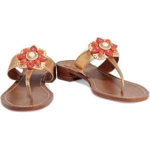 Tory Burch Maura Gold Metallic Flower Sandals 9.5